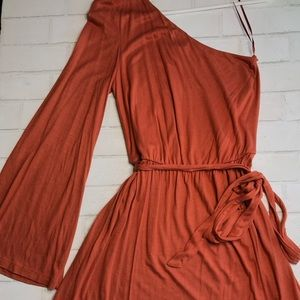 One Shoulder Bell Sleeve Knee-Length Dress